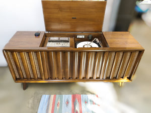 Vintage MidCentury Modern Stereo Record Player Console With Bluetooth