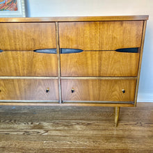 Load image into Gallery viewer, Vintage MidCentury Modern 9 Drawer Walnut Dresser By Basset