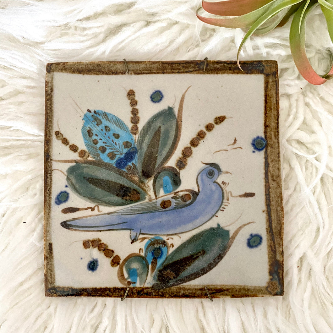 Vintage Boho Hand Painted Tile Trivet By Ken Edwards