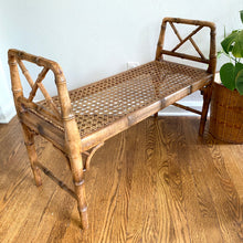 Load image into Gallery viewer, Vintage Boho 70s Cane Bench With Cushion