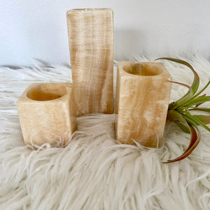 Vintage Bohemian Modern Onyx Pillar Candle Holder Set