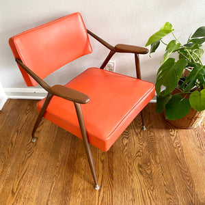 Vintage Mid Century Modern Orange Lounge Chair