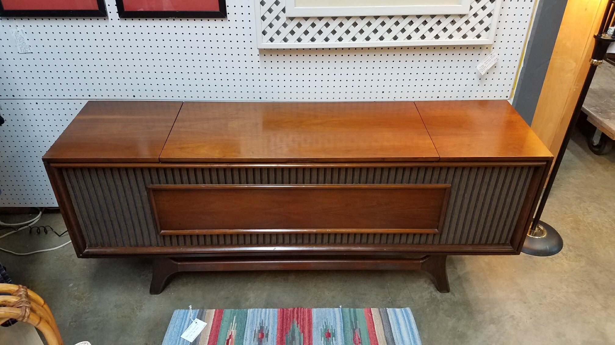 Vintage Mid Century Modern GE Console Stereo Record Player