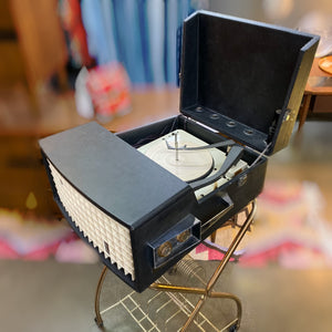Vintage Tube Amplified Portable Record Player With Stand