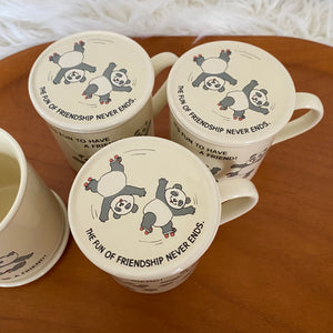 Vintage 80's Panda Bear Mug Set By Hallmark (4)
