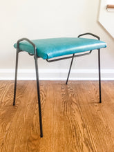 Load image into Gallery viewer, Vintage MidCentury Modern Metal Framed Stool With New Old Stock Upholstery