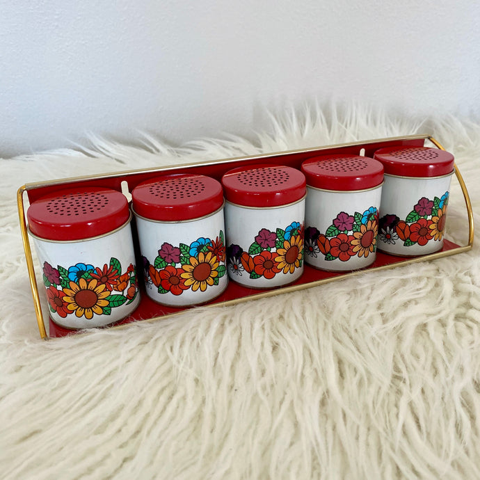 Vintage 70s Spice Shaker Set With Rack NIB