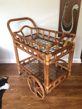Load image into Gallery viewer, Vintage Mid Century Bohemian Rattan & Bamboo Rolling Bar Cart