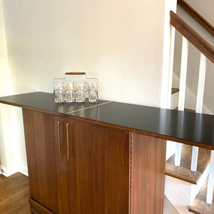 Vintage MidCentury Modern Bar Cabinet With Extending Top