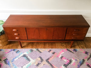 Vintage Danish Modern Credenza Attributed To Kai Kristensen With Locking Cabinet In Teak