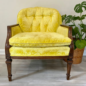Vintage Yellow Velvet Boho Arm Chair
