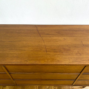Vintage MidCentury Modern Walnut Dresser With 9 Drawers