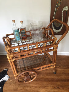 Vintage Mid Century Bohemian Rattan & Bamboo Rolling Bar Cart