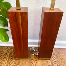 Load image into Gallery viewer, Vintage Mid Century Modern Walnut Lamps