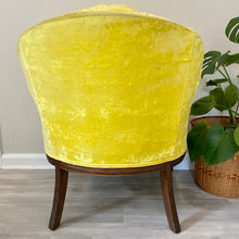 Load image into Gallery viewer, Vintage Yellow Velvet Boho Arm Chair