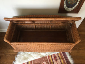 Vintage Bohemian Wicker Storage Bench