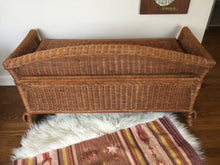 Load image into Gallery viewer, Vintage Bohemian Wicker Storage Bench