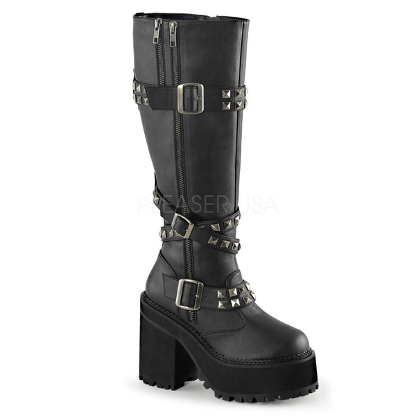 ASSAULT-203 Gothic Knee Boots by Demonia Shoes