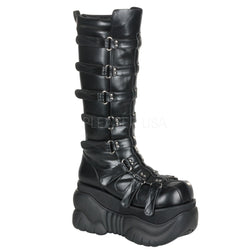 BOXER-200 Unisex *4 Inch P/F Knee Cyber Boot Blk PU w/ adjustable Velcro straps by Demonia