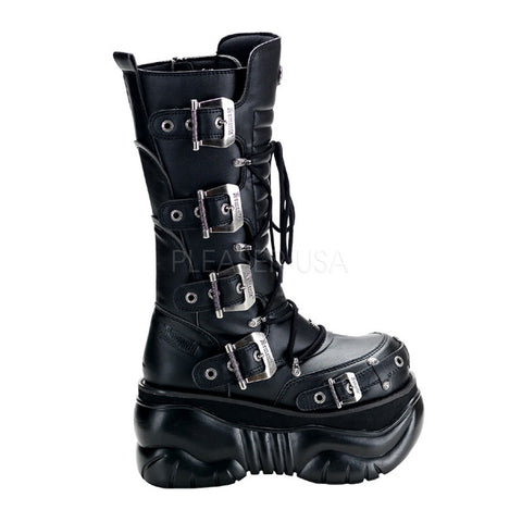 BOXER-205 Unisex *4 Inch P/F Calf Cyber Boot Blk PU Buckle Platform by Demonia