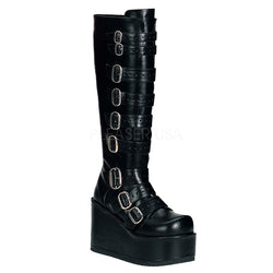 CONCORD-108 Punk Knee High Boots by Demonia Shoes