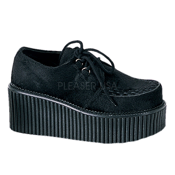 CREEPER-202 Black Fur Creeper by Demonia Shoes