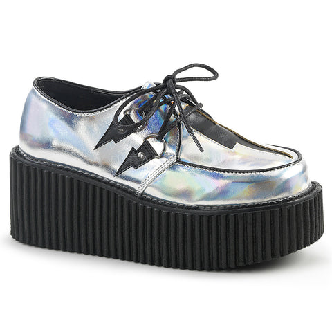 CREEPER-218 Silver Hologram Creeper by Demonia Shoes