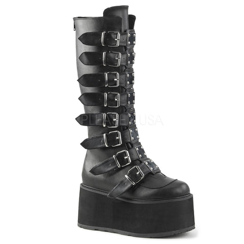 DAMNED-318 Buckled Knee Boot by Demonia Shoes