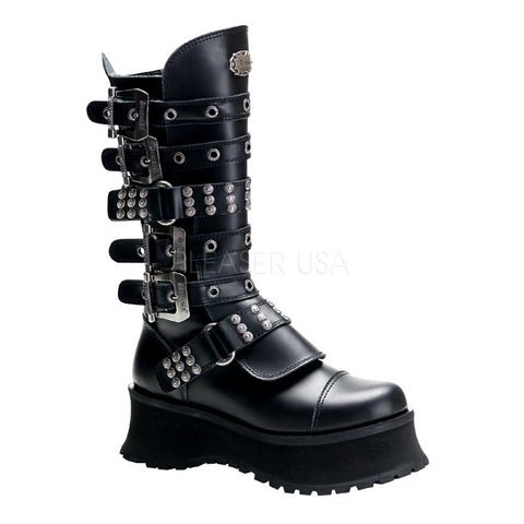 RAVAGE-302 Leather Studded Boots by Demonia Shoes