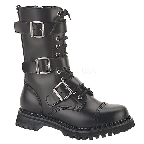RIOT-12  Leather Combat Boots by Demonia Shoes