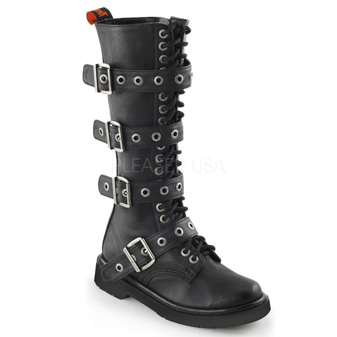 RIVAL-404 Buckle Combat Boots by Demonia Shoes