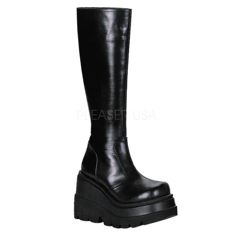 SHAKER-100 Vegan Wedge Knee Boot by Demonia Shoes