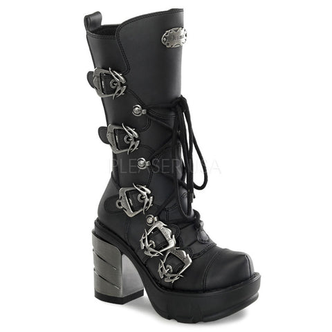 SINISTER-203 Multi Buckle Gothic Boot by Demonia Shoes