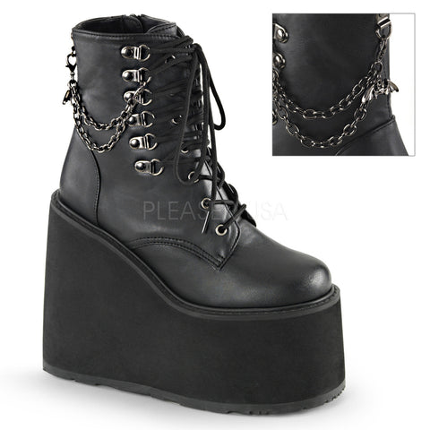 SWING-101 Bat Charm Gothic Boot by Demonia Shoes
