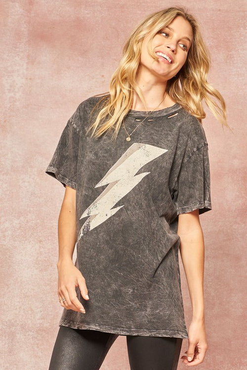 Lightening Distressed Tee