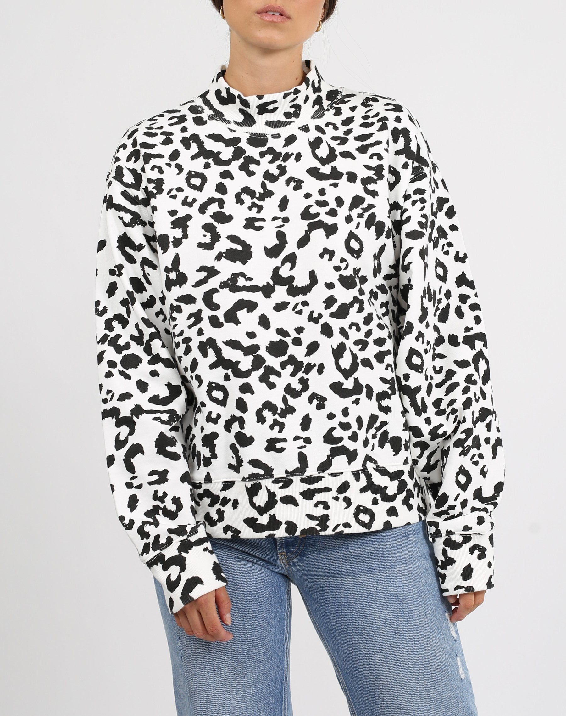 "The ""SNOW LEOPARD"" Mock Neck Step Sister Sweatshirt"
