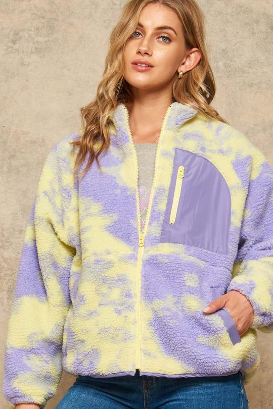 Fresh Powder Tie-Dye Zip-up Sherpa Jacket
