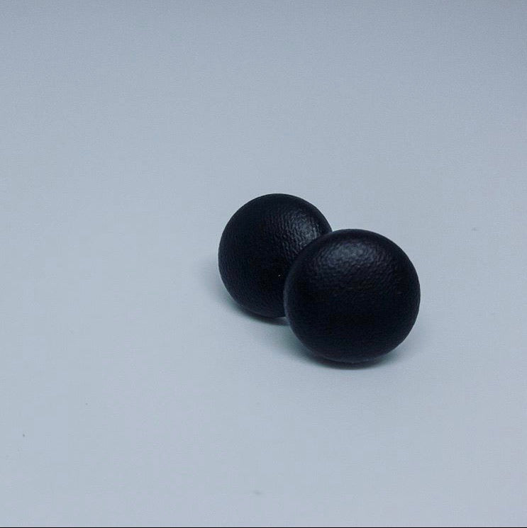 Leather Button Earrings