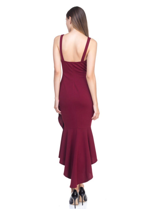 Romance Language Bodycon Dress- Wine