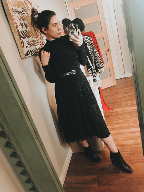 *The Closet- Sheer MIDI black leopard dress