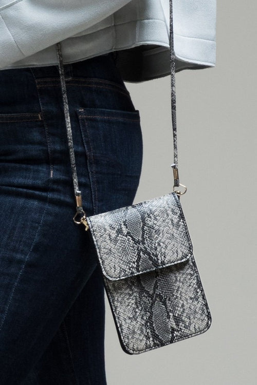 * Snake Print Cellphone Cross-Body Bag