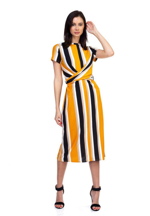Sweet Stuff Mustard Stripe Midi dress