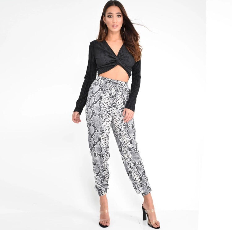 * The Closet- Snakeskin paperbag pants