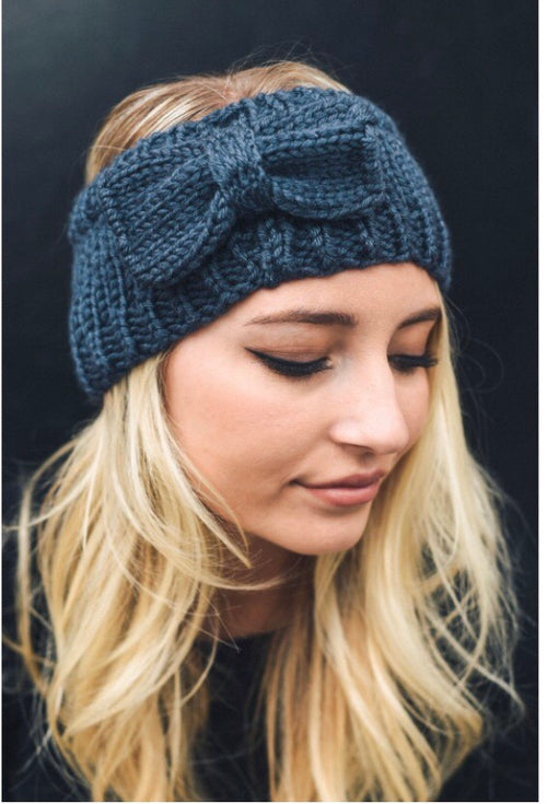 Bow Knit Headband-Navy