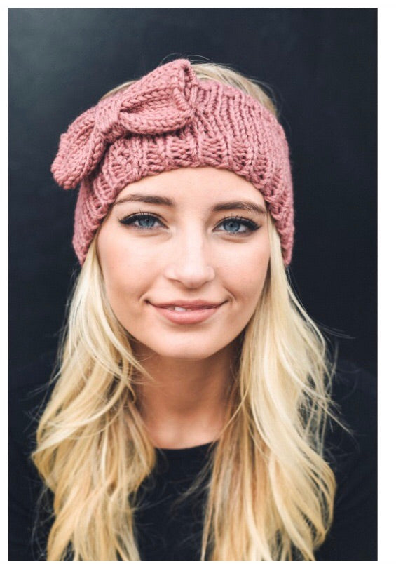 Bow Knit headband-Rose