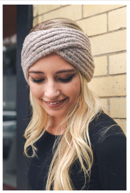 Knit headband- Grey & Nude