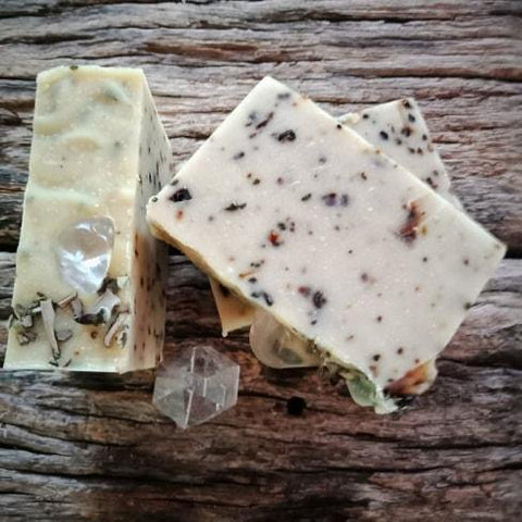 JOURNEY Grounding Resins & White Sage Smudge Soap with Clear Quartz - JOURNEY artisan soaps & candles