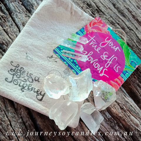 Clear Quartz Gift Pack - Generator Trio & Rough Clear Quartz - A Spiritual Journey - JOURNEY artisan soaps & candles