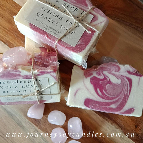 How deep is your love? Rose Quartz Crystal Soap
