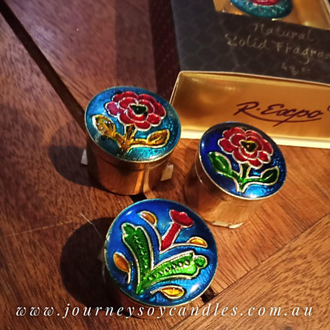 Song of India - Hand-painted Cloisonné Solid Perfumes - JOURNEY artisan soaps & candles